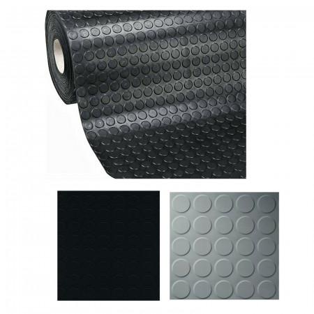 TAPPETO IN GOMMA NERO/GRIGIO IN PVC COPERTURA PAVIMENTO H 1 MT