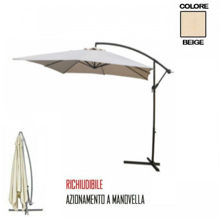 OMBRELLONE GIARDINO DECENTRATO A SBRACCIO 2,5 X 2,5 COLORE BEIGE PAPILLON