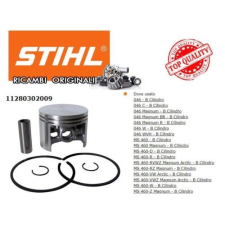 CILINDRO E PISTONE MOTOSEGA STIHL 046, MS 460 ORIGINALE 11280302009
