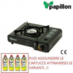 FORNELLO DA CAMPEGGIO A GAS BUTANO PAPILLON CUCINA COMPLETO DI VALIGETTA